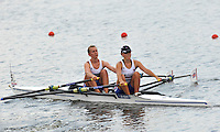 Brest, Belarus.  GBR LW2X, Bow Katherine COPELAND and Charlotte BURGESS, at the start.  2010. FISA U23 Championships. Thursday,  22/07/2010.  [Mandatory Credit Peter Spurrier/ Intersport Images]