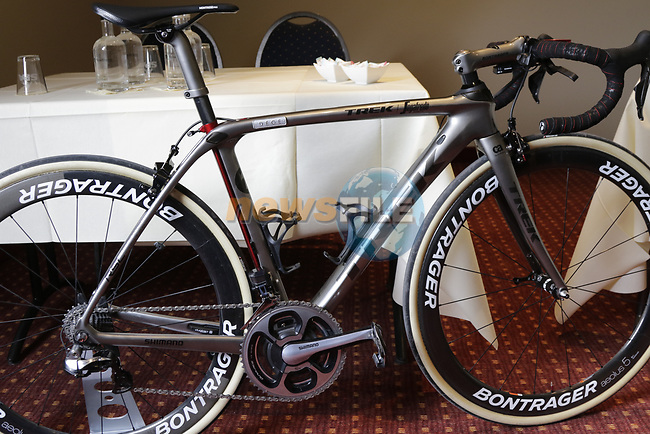 John Degenkolb's (GER) Trek-Segafredo custom Trek Domane at a press conference the upcoming Paris-Roubaix race, Bruges, Flanders, Belgium. 7th April 2017.<br /> Picture: Eoin Clarke | Cyclefile<br /> <br /> <br /> All photos usage must carry mandatory copyright credit (&copy; Cyclefile | Eoin Clarke)