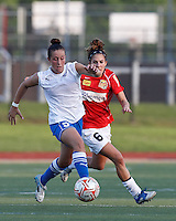 Boston Breakers forward Amanda DaCosta (5) attempts to control the ball as Western New York midfielder Angela Salem (6) pressures. In a Women's Premier Soccer League Elite (WPSL) match, the Boston Breakers defeated Western New York Flash, 3-2, at Dilboy Stadium on May 26, 2012.