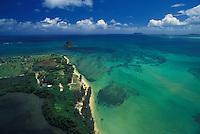 On Oahu's windward side, Kualoa Beach Park, Chinaman's Hat, and Kaneohe Bay