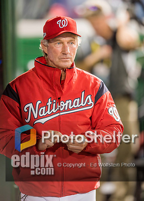 13 October 2016: Washington Nationals Bench Coach Chris Speier walks down the dugout prior to Game 5 of the NLDS against the Los Angeles Dodgers at Nationals Park in Washington, DC. The Dodgers edged out the Nationals 4-3, to take Game 5 of the Series, 3 games to 2, and move on to the National League Championship Series against the Chicago Cubs. Mandatory Credit: Ed Wolfstein Photo *** RAW (NEF) Image File Available ***