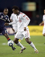 Toronto FC midfielder Amadou Sanyang (22) controls the ball. The New England Revolution defeated Toronto FC, 4-1, at Gillette Stadium on April 10, 2010.