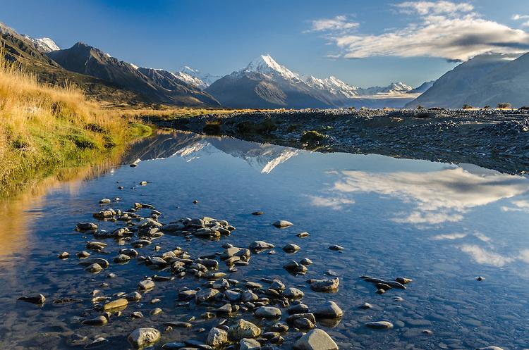 Early morning light Aoraki / Mt Cook and the Tasman River, Mckenzie Country, Canterbury, New Zealand - stock photo, canvas, fine art print