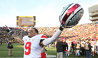 Ohio State Buckeyes wide receiver Devin Smith (9) celebrates the Buckeyes win over Michigan at Michigan Stadium in Ann Arbor, Michigan on November 30, 2013.  (Chris Russell/Dispatch Photo)