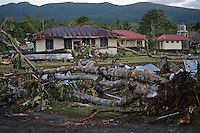 Poutasi village, 24 hours the tsunami. More than 170 people died when a tsunami triggered by an 8.3 magnitude earthquake hit Samoa and neighbouring Pacific islands on 29/09/2009. Samoa (formerly known as Western Samoa)..