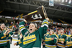 ST CHARLES, MO - MARCH 19:  Corie Jacobson (2) of the Clarkson Golden Knights hoists the First Place trophy at the Division I Women's Ice Hockey Championship held at The Family Arena on March 19, 2017 in St Charles, Missouri. Clarkson defeated Wisconsin 3-0 to win the national championship. (Photo by Mark Buckner/NCAA Photos via Getty Images)
