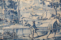 Men fishing, traditional blue and white azulejos tile scene, 18th century, part of a series depicting the history of the monastery and the Siege of Lisbon in 1147, in the Monastery of Sao Vicente de Fora, an Augustinian order monastery and church built in the 17th century in Mannerist style, Lisbon, Portugal. The monastery also contains the royal pantheon of the Braganza monarchs of Portugal. Picture by Manuel Cohen