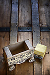 Vintage wooden train on antique trunk