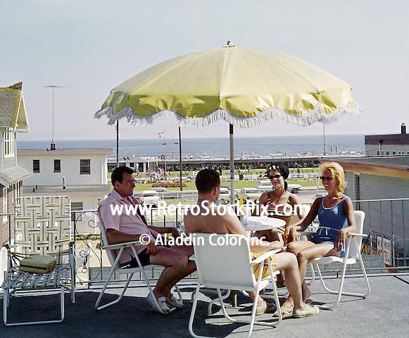 El Ray Motel, Wildwood, NJ Sundeck with a boardwalk & ocean view. 1962