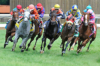 Hungry Island (no. 10), ridden by John Velasquez and trained by Claude McGaughey III, wins the  27th running of the grade 2 Churchill Distaff Turf Mile Stakes for fillies and mares four years old and upward on May 05, 2012 at Churchill Downs in Louisville, Kentucky.  (Bob Mayberger/Eclipse Sportswire)