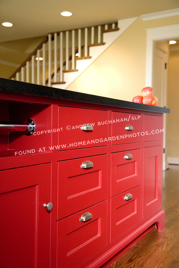 Df008905 red kitchen island stock for Bright red kitchen cabinets