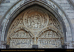 Detail: Lunette over South Entrance, Onze-Lieve-Vrouwkerk Church of Our Lady, Bruges, Brugge, Belgium