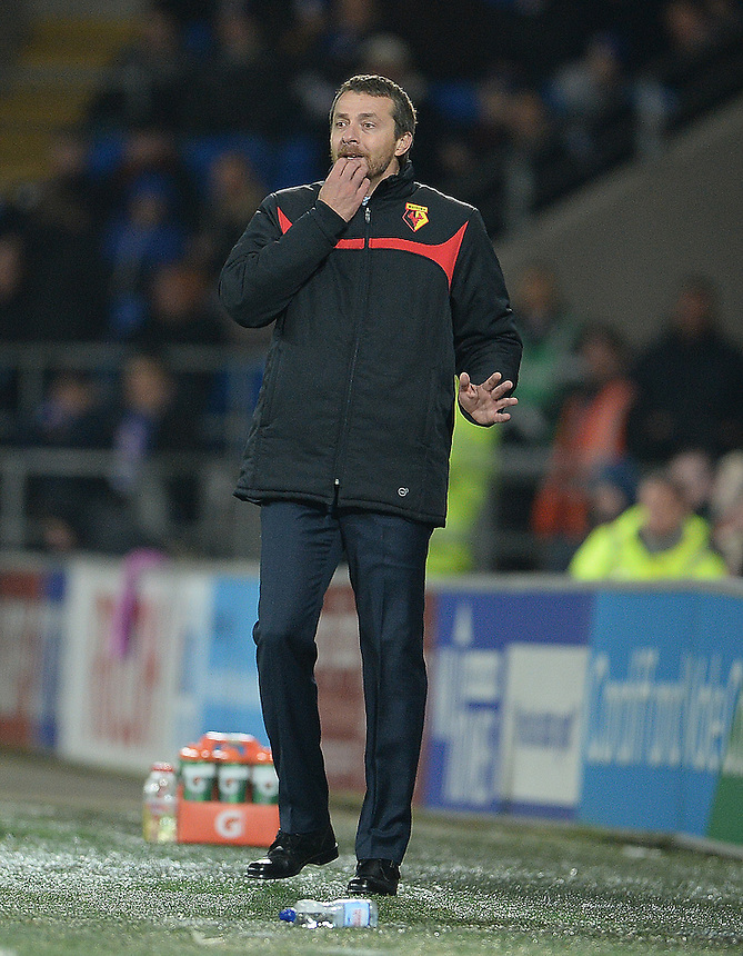 Watford manager Slavisa Jokanovic shouts instructions during the game<br /> <br /> Photographer Ian Cook/CameraSport<br /> <br /> Football - The Football League Sky Bet Championship - Cardiff City v Watford - Saturday 28th December - Cardiff City Stadium - Cardiff<br /> <br /> &copy; CameraSport - 43 Linden Ave. Countesthorpe. Leicester. England. LE8 5PG - Tel: +44 (0) 116 277 4147 - admin@camerasport.com - www.camerasport.com