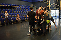 Cardiff, UK. 19.01.2016. National Dance Company Wales in the studio at Dance House, Wales Millennium Centre, rehearsing FOLK, choreographed by artistic director, Caroline Finn, in preparation for their Spring Tour 2016. Caroline Finn (second left) and Lee Johnston (rehearsal director - far left) with the Company. Photograph © Jane Hobson.)