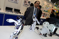 Fuel cell powered robots, Fuel Cell Expo, Tokyo Big Site, 27 Feb 2009.The expo is the worlds largest hydrogen and fuel cell event. 26,240 people attended over the 25th to 27th February 2009.