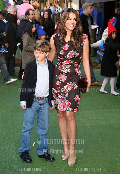Elizabeth Hurley and son Damian arriving for the UK premiere of 'Gnomeo & Juliet' at the Odeon Leicester Square, London. 30/01/2011  Picture by: Alexandra Glen / Featureflash