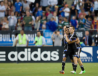 Sam Cronin of Earthquakes celebrates with Rafael Baca of Earthquakes after Cronin scored a goal during the game against Galaxy at Stanford Stadium in Palo Alto, California on June 30th, 2012.  San Jose Earthquakes defeated LA Galaxy, 4-3.