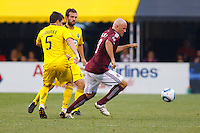 21 AUGUST 2010:  Danny O'Rourke of the Columbus Crew (5), Adam Moffat and Colorado Rapids forward Conor Casey (9) during MLS soccer game between Colorado Rapids vs Columbus Crew at Crew Stadium in Columbus, Ohio on August 21, 2010.