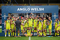 Leicester Tigers players celebrate with the Anglo-Welsh Cup trophy. Anglo-Welsh Cup Final, between Exeter Chiefs and Leicester Tigers on March 19, 2017 at the Twickenham Stoop in London, England. Photo by: Patrick Khachfe / JMP