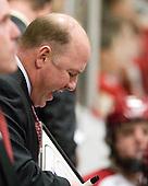 Ted Donato (Harvard - Head Coach) - The Harvard University Crimson defeated the visiting Clarkson University Golden Knights 3-2 on Harvard's senior night on Saturday, February 25, 2012, at Bright Hockey Center in Cambridge, Massachusetts.