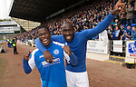St Johnstone v Motherwell.....19.05.13      SPL.Nigel Hasselbaink and Gregory Tade celebrate.Picture by Graeme Hart..Copyright Perthshire Picture Agency.Tel: 01738 623350  Mobile: 07990 594431