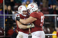 Stanford, CA - November 26, 2016: Christian McCaffrey and Nick Wilson after scoring during the Stanford vs Rice game Saturday at Stanford Stadium.<br /> <br /> Stanford won 41- 17.