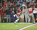 Ole Miss' Philander Moore (22) returns a kickoff vs. LSU at Vaught-Hemingway Stadium in Oxford, Miss. on Saturday, November 19, 2011. (AP Photo/Oxford Eagle, Bruce Newman).