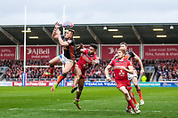 Picture by Alex Whitehead/SWpix.com - 19/03/2017 - Rugby League - Betfred Super League - Salford Red Devils v Castleford Tigers - AJ Bell Stadium, Salford, England - Castleford's Greg Eden and Salford's Greg Johnson challenge for the ball in the air.