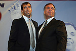 10 AUG 2010: Kenny Arena (left) and his father, 2010 Builder Inductee Bruce Arena (right) embrace after Kenny's presentation. The 2010 National Soccer Hall of Fame Induction Ceremony was held at New Meadowlands Stadium in East Rutherford, New Jersey.