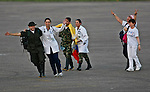 A group of 10 hostages held for more than 12 years arrives after they was released by FARC members in Villavicencio, Colombia. 2/04/2012.  Photo by Nestor Silva / VIEWpress.