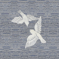 Simone By James Duncan, a waterjet and hand-cut stone mosaic, shown in polished Thassos and tumbled Blue Macauba.