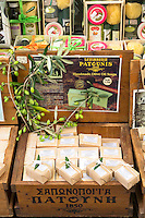 Traditional olive oil soap by Patounis on sale in gifts and souvenirs shop in Kerkyra, Corfu Town, , Greece