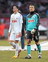 FUSSBALL   1. BUNDESLIGA  SAISON 2011/2012   22. Spieltag 1 FC Nuernberg - 1. FC Koeln       18.02.2012 Odise Roshi , Michael Rensing (v. li., 1. FC Koeln)