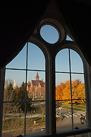View through the windows of Pomeroy Hall, Fall UVM Campus