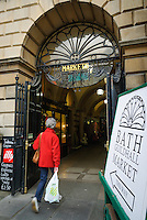 Entrance to the Guildhall market, Bath, UK, October 19, 2007. The city of Bath is famed for it's hot springs (the only in the UK) and it's Georgian architecture. The city is a UNESCO World Heritage Site.