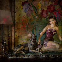 China ornament of girl with dog, painting of flowers, lamp and metal rabbit.