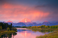 Thunderstorm, Sunrise, Grand Tetons, Oxbow Bend, Jackson Hole, Wyoming