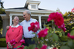 Penny and Roy Lave share a laugh recently outside the Los Altos Community Foundation&rsquo;s office on Hillview Avenue.<br />
