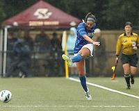 Duke University forward Laura Weinberg (16) passes the ball. Boston College (white) defeated Duke University (blue/white), 4-1, at Newton Campus Field, on October 6, 2013.