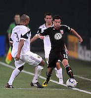 DC United midfielder Chris Pontius (13) goes against Real Salt Lake defender Robbie Russell (3)   DC United defeated Real Salt Lake 2-1 to advance to the round of 16 of the  U.S. Open Cup at RFK Stadium, Wednesday  June 2  2010.