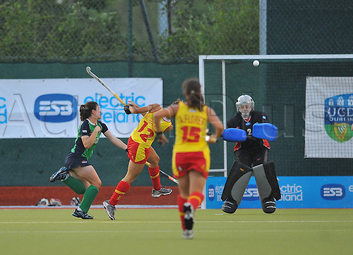 21.06.2011 ESB Champions Challenge from the National Hockey  Stadium at Belfield, Dublin. Ireland v Spain. Maialen Garcia of Spain strikes a shot which goes well over