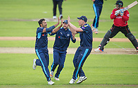 Picture by Allan McKenzie/SWpix.com - 05/04/2017 - Cricket - Yorkshire County Cricket Club Media Day 2017 - Headingley Cricket Ground, Leeds, England - Yorkshire's Azeem Rafiq celebrates the dismissal of Leicestershire's Mark Cosgrove with Adam Lyth & Matthew Waite.