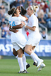 09 November 2008: North Carolina's Casey Nogueira (54) celebrates her goal with Jessica McDonald (center) and Ali Hawkins (right). The University of North Carolina Tarheels defeated the Virginia Tech University Hokies 3-0 at WakeMed Stadium at WakeMed Soccer Park in Cary, NC in the women's ACC tournament championship game.
