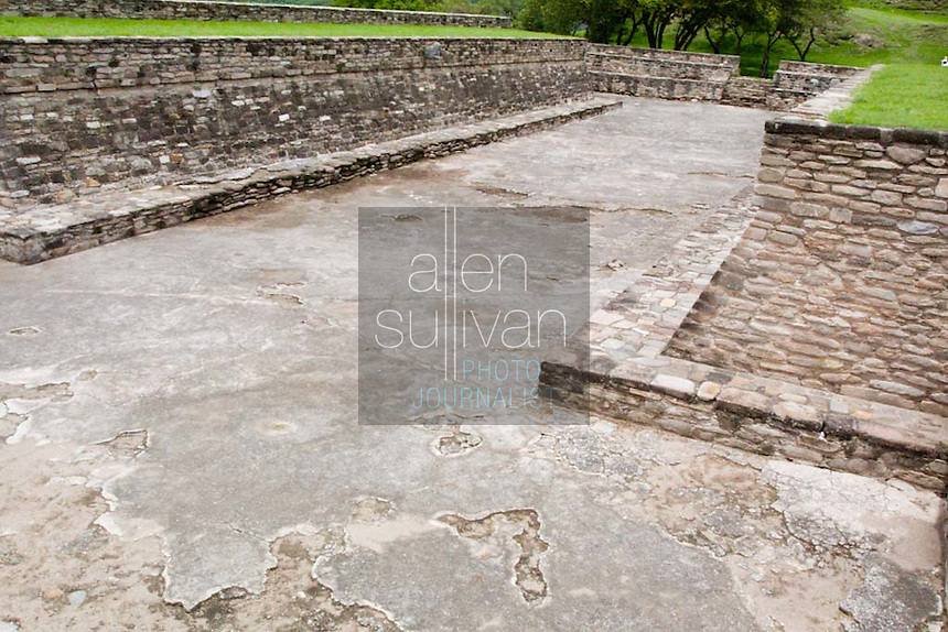 A ball court in Mixco Viejo, a Mayan site in Guatemala.