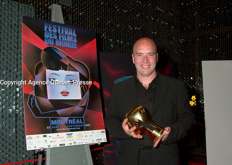 Sept 2, 2002, Montreal, Quebec, Canada<br /> <br />  film maker  Diego Arsuaga ,<br />   best screen play award for his movie EL ULTIMO TREN<br /> ,at the closing ceremony of the 2002 Montreal World Films Festival, Sept 2 2002, in  Montreal, Quebec, Canada