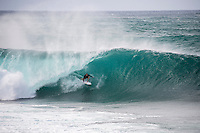 BANZAI PIPELINE, Oahu/Hawaii (Saturday, December 13, 2014)  Mick Fanning (AUS) surfing Pipeline after the contest was called off fro the day. - The final stop of the 2014  World Championship Tour, the Billabong Pipe Masters in Memory of Andy Irons, was  called ON today in NW double overhead surf. <br /> Round 1 was completed as the swell continued to rise and the Easterly Trade winds increased in strength. Kelly Slater (USA) kept his World Title hopes alive after winning his heat against Reef MacIntosh (HAW). Jordy Smith(ZAF) was injured when he hit the reef at Backdoor.<br /> Conditions worsen around the end of the Round and the event was first put on hold then postponed for the day.  <br /> <br /> The Billabong Pipe Masters in Memory of Andy Irons will determine this year&rsquo;s world surfing champion as well as those who qualify for the elite tour in 2015. As the third and final stop on the Vans Triple Crown of Surfing Series  the event will also determine the winner of the revered three-event leg.<br /> <br />  Photo: joliphotos.com