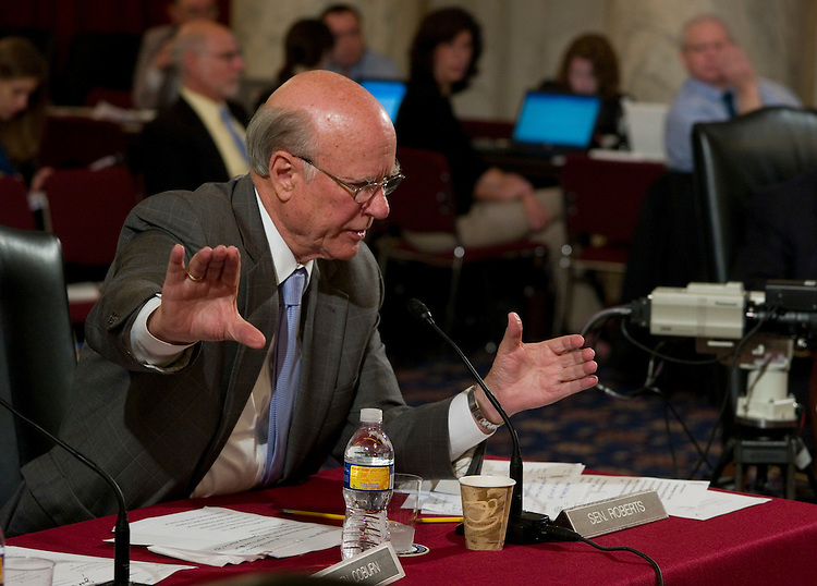 WASHINGTON, DC - June 18: Sen. Pat Roberts, R-Kan., during the Senate Health, Education, Labor and Pensions markup of a comprehensive healthcare bill. (Photo by Scott J. Ferrell/Congressional Quarterly)