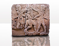Picture & image of a Neo-Hittite orthostat describing the legend of Gilgamesh from Karkamis,, Turkey. Ancora Archaeological Museum. c