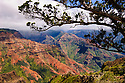 Waimea Canyon, sometimes called &quot;the Grand Canyon of the Pacific&quot;; Waimea Canyon State Park, Kauai, Hawaii.  .