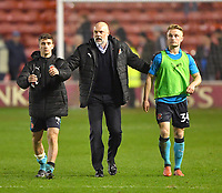 Fleetwood Town's Manager Uwe Rosler with Cameron Brannagan and Kyle Dempsey applaud the fans<br /> <br /> Photographer Dave Howarth/CameraSport<br /> <br /> The EFL Sky Bet League One - Walsall v Fleetwood Town - Tuesday 14th March 2017 - Banks's Stadium - Walsall<br /> <br /> World Copyright &copy; 2017 CameraSport. All rights reserved. 43 Linden Ave. Countesthorpe. Leicester. England. LE8 5PG - Tel: +44 (0) 116 277 4147 - admin@camerasport.com - www.camerasport.com
